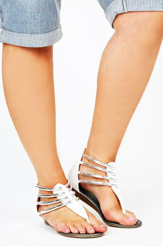 White Silver Bar Trim Gladiator Low Wedge Sandals In EEE Fit