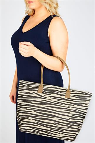 Cream And Black Zebra Print Shopper Beach Bag
