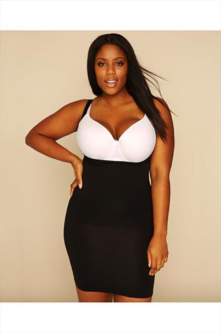 Black Underbra Smoothing Slip Dress With Firm Control
