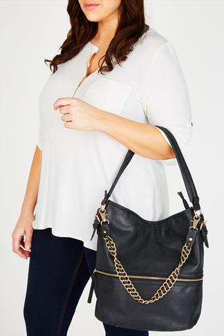 Black Shopper Bag With Detachable Chain Detail