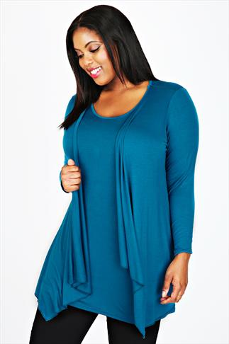 Teal Longline 2 in 1 Top With Long Sleeves
