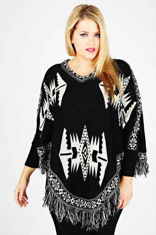Black & Cream Aztec Poncho With Sleeves & Fringed Hem