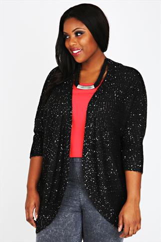Black Sequin Batwing Knitted Cardigan