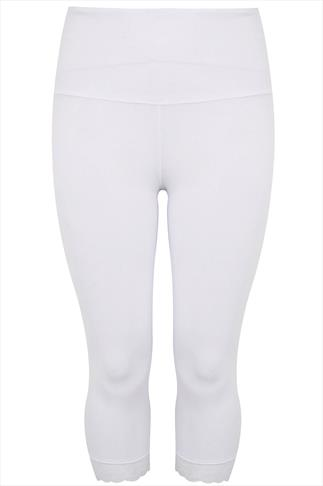 White TUMMY CONTROL Cropped Leggings With Lace Trim