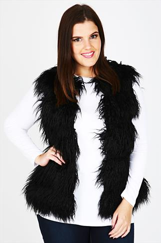 Black Ribbed Faux Fur Gilet