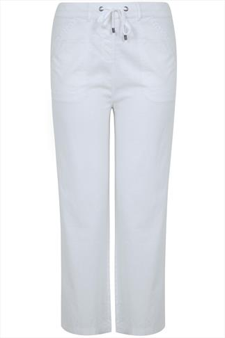 White Linen Mix Full Length Trousers With Four Pockets
