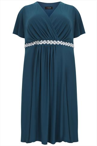 Teal Wrap Front Dress With Waist Embellishment