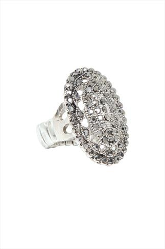 Silver Oval Crystal Stretch Cocktail Ring