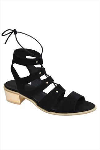 Black Lace-Up Gladiator Style Sandals With Gold Block Heel