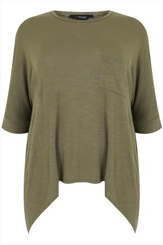 Khaki 3/4 Sleeve Hanky Hem Top with Pocket