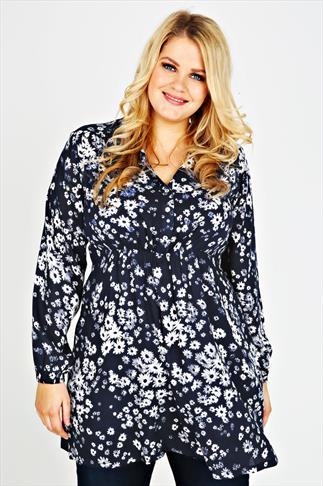 Navy & White Floral Print Longline Top With Pintuck Detail
