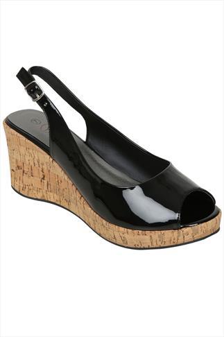 Black Patent Peep Toe Cork Wedge Sandal In A EEE Fit