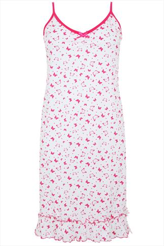Pink And White All Over Butterfly Print Cotton Chemise