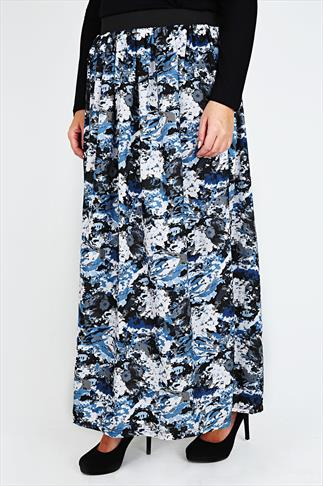 Blue, Black & Grey Smudge Print Flare Skirt With Elasticated Waist