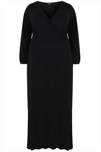 Black Long Sleeve Wrap Maxi Dress