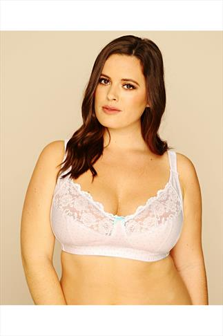 Blue Star Print Cotton Rich Non Wired Bra With Lace Trim