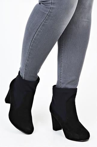Black Suedette Panelled Slip On Ankle Boots With Heel In EEE Fit