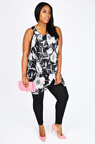 Black & White Floral Print Chiffon Overlay Tunic Dress