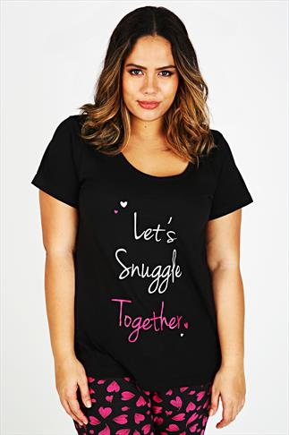 "Black ""Let's Snuggle Together"" Pyjama Top"