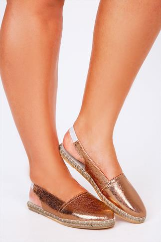 Bronze Metallic Slingback Espadrilles In EEE Fit