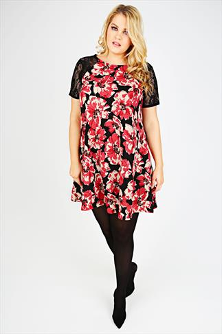 Black & Red Poppy Print Textured Swing Dress With Lace Sleeves