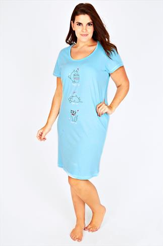Baby Blue Three Cat Print Cotton Nightdress