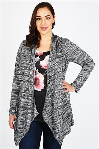 Grey Marl & Woven Floral Print Longline 2 in 1 Top With Long Sleeves