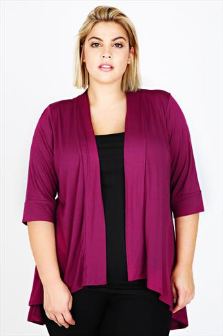 Magenta Edge To Edge Waterfall Jersey Cardigan With  Gathered Back
