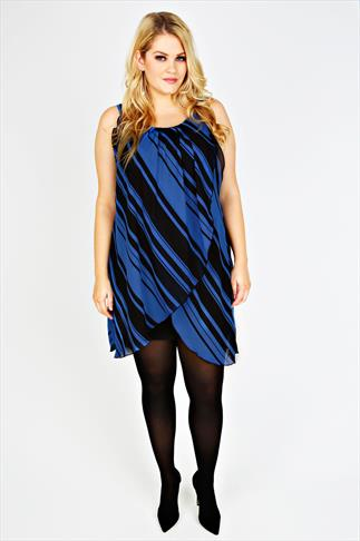 Black & Blue Striped Print Chiffon Overlay Tunic Dress
