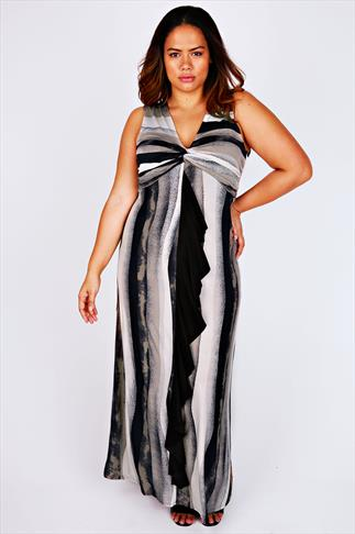 Black & Stone Mixed Stripe Maxi Dress With Twisted Knot & Frill Trim