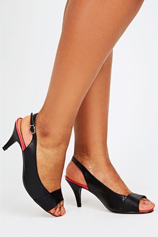 Black Peep Toe Slingback Heels With Pink Trim In EEE Fit