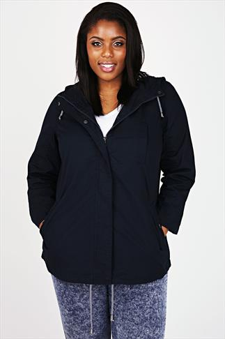 Navy Washed Cotton Parka Jacket With Hood