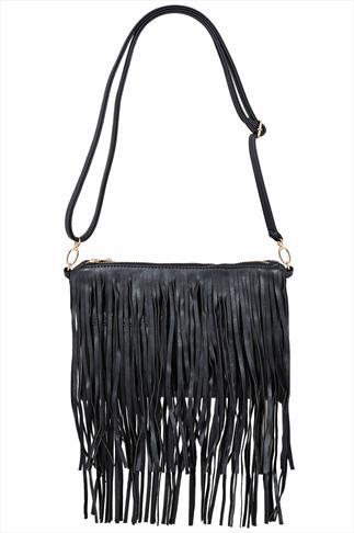 Black Fringe Bag With Adjustable Strap
