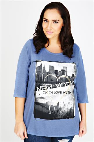 Blue Marl 'New York' Print Half Sleeve T-Shirt