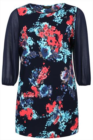 Navy And Multi Floral Print Tunic With Chiffon Sleeves