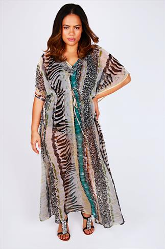 Animal Printed Embellished Neck Long Kaftan