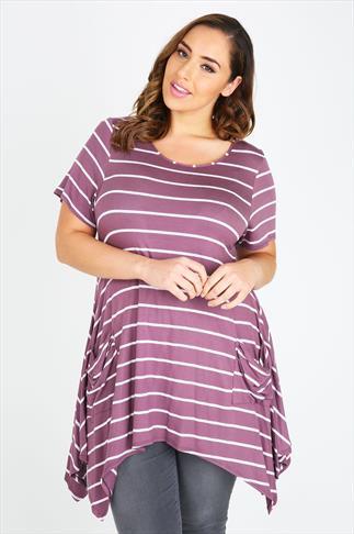 Purple & Pink Stripe Longline Top With Hanky Hem