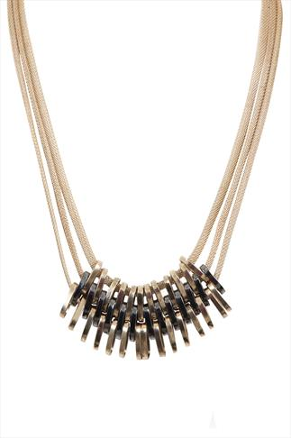 Gold Tone & Gunmetal Loop Necklace