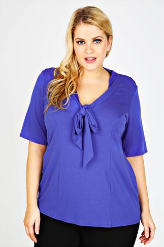 Blue Pussy Bow Jersey Top With Short Sleeves