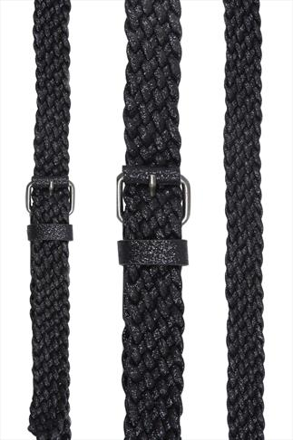 Black Glitter Weaved Jean Belt
