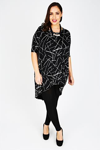 Black & White Printed Oversized Top With Extreme Dipped Hem