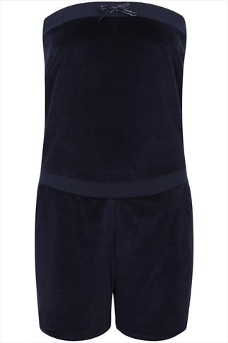 Navy Strapless Velour Pull On Playsuit With Crown Detail