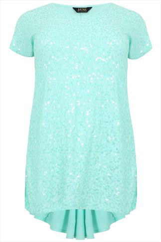 Mint Sequin Embellished Longline Top With Godet Back