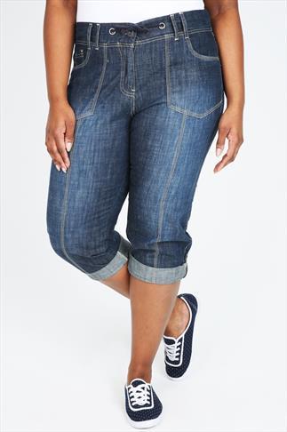 Rib Waist Blue Denim Roll Up Crop Jeans