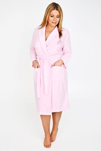 Pink Micro Fleece Dressing Gown With Embroidery