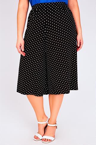 Black & White Spot Print Jersey Culottes