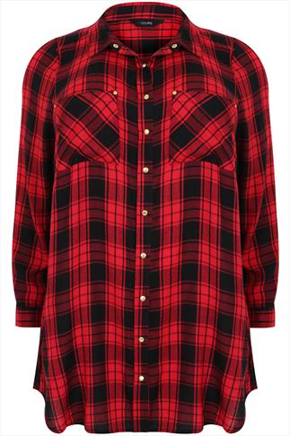 Red & Black Checked Boyfriend Shirt With Pockets