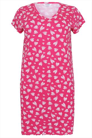 Hot Pink & White Heart Print Nightdress With Fluted Sleeves