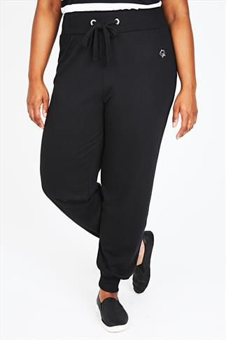 Black Crown Detail Cuffed Joggers With Elasticated Waist