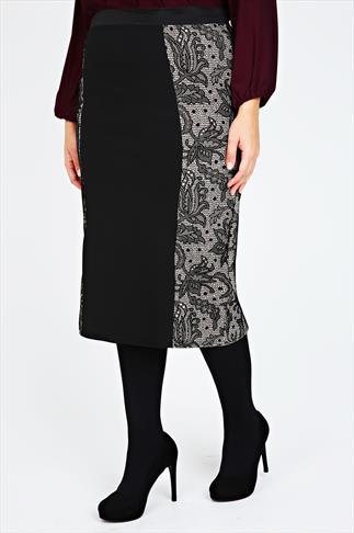 Black Floral Lace Panel Pencil Skirt